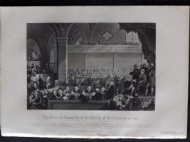 Gardner 1860 Antique Print. The General Assembly of the Church of Scotland as in 1783